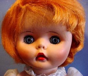 1960s girl with orange hair face