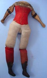 Large 20 inch antique doll body red corset front