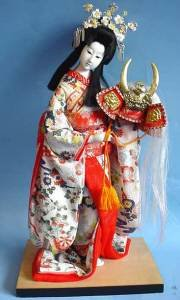 Lovely 12 inch Japanese lady on wood stand full