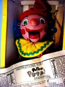 Pelham puppet Clown made in England tag