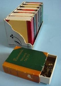 Very small vintage box books three