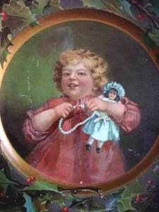 girl doll advertising plate close