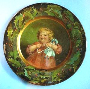 girl doll advertising plate full
