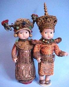 ornate pair dolls