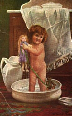 postcard girl in tub with doll