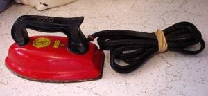 red children's iron with cord