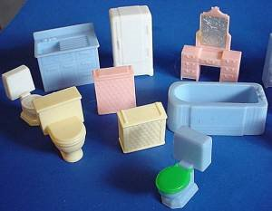Tiny vintage Allied doll house furniture one