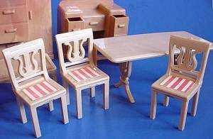 Vintage doll house furniture larger Plasco chairs