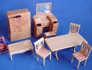 Vintage doll house furniture larger Plasco group