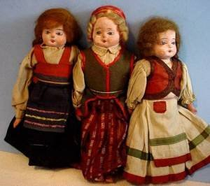 3 original papier mache dolls