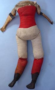 Large 20 inch antique doll body red corset back