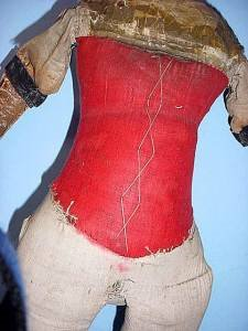 Large 20 inch antique doll body red corset middle