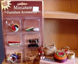 vintage miniature baskets and  new sewing minis
